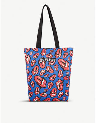 THE ROLLING STONES Logo-print cotton tote bag