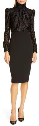 Badgley Mischka Collection Long Sleeve Pencil Dress
