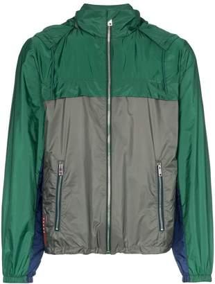 Prada green and grey hooded jacket