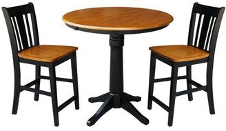 """INC International Concepts 36"""" Round Counter Height Table with 12"""" Leaf and 2 San Remo Stools - Black/Cherry - 3 Piece Set"""