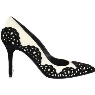 Alexander McQueen White Suede Heels