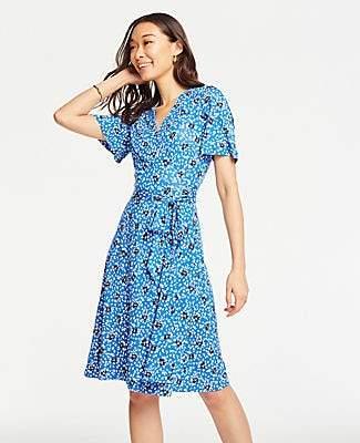 Ann Taylor Floral Cluster Flutter Sleeve Wrap Dress