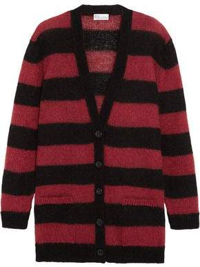 RED Valentino Striped Mohair-Blend Cardigan