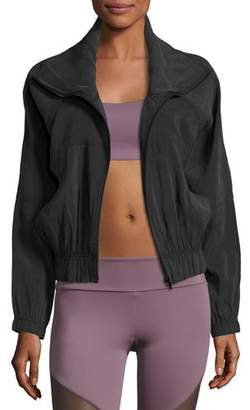 Onzie Woven Zip-Front Performance Jacket, Black
