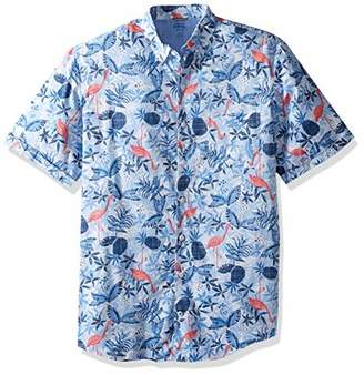 d6a10bc8 Izod Men's Big and Tall Saltwater Dockside Chambray Short Sleeve Button  Down Pattern Shirt