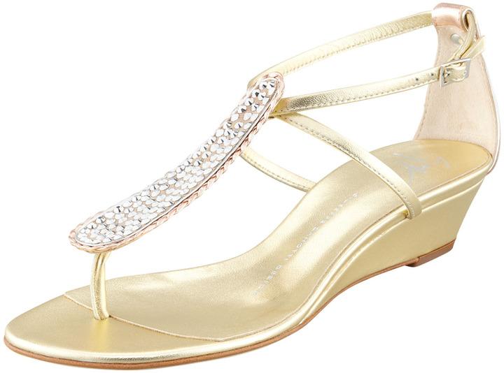 Giuseppe Zanotti Strass T-Strap Wedge Sandal, Gold