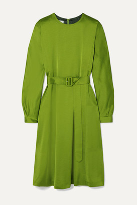 Dries Van Noten Dicina Belted Satin Midi Dress - Lime green