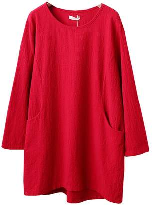 Minibee Women's Cotton Linen 4/5 Sleeve Tunic/Top Tees XL