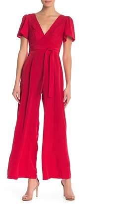 June & Hudson Flutter Sleeve Lace Bodice Jumpsuit