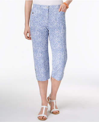 Karen Scott Petite Tile-Print Capri Pants, Created for Macy's