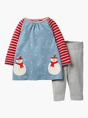 Boden Mini Baby Appliqué Friends Dress Set, Boathouse Blue