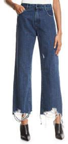 Hepburn Wide-Leg Destroyed-Ankle Jeans