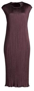 Max Mara Gineceo Belted Plisse Sleeveless Sheath Dress