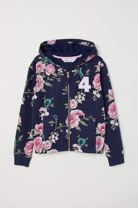 H&M Printed Hooded Jacket - Blue