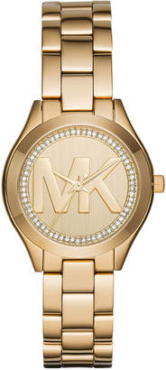 MICHAEL Michael Kors 33mm Mini Slim Runway Crystal Bracelet Watch, Golden