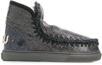 Mou Eskimo crackled metallic boots