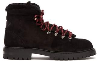 Valentino Rockstud Embellished Suede Hiking Boots - Womens - Black