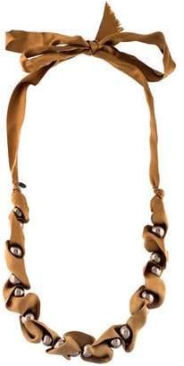 Lanvin Faux Pearl & Ribbon Bead Strand Necklace
