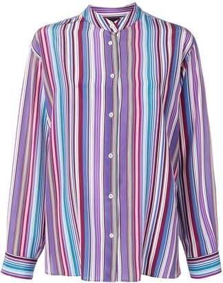 Aspesi striped grandad collar shirt