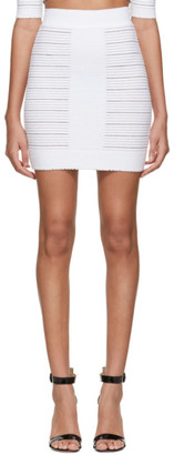 Balmain White Medical Stripe High Waisted Miniskirt