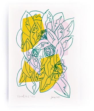 The Completist Pink Yellow Floral Limited Edition Screen Print