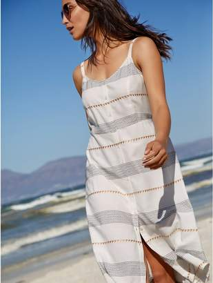 M&Co Embroidered stripe midi dress