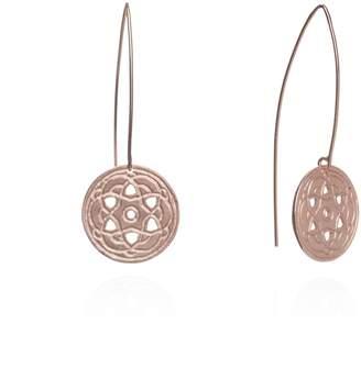 Maro - Rose Gold Byzantine Long Hoop Earrings