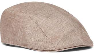 Brunello Cucinelli Leather-Trimmed Herringbone Linen Flat Cap