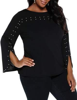 Belldini Plus Embellished Slit-Sleeve Top