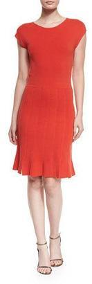 Armani Collezioni Cap-Sleeve Seamed Dress, Red $895 thestylecure.com