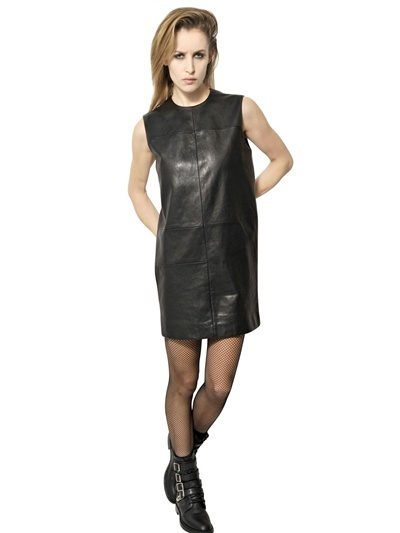 Saint Laurent Mondrian Cut Soft Leather Dress