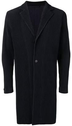 Pleats Please Issey Miyake ribbed-style long jacket