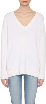 Allude White Cashmere V-Neck Sweater