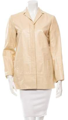Calvin Klein Collection Notch Lapel Leather Coat