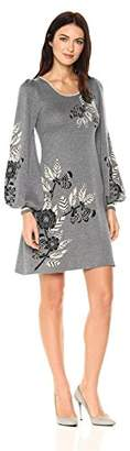 Max Studio Women's Printed Balloon Sleeve Sweater Dress