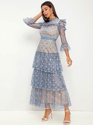 Shein Mock-neck Ruffle Trim Tiered Layered Lace Dress