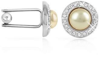 Forzieri Crystal Framed Pearl Cufflinks