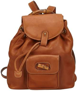 ca3fb5f547a9 Gucci Vintage Bamboo Brown Leather Backpacks