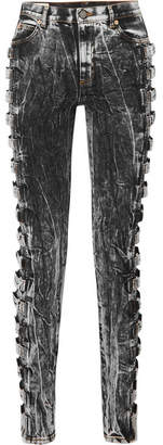 Gucci Buckled High-rise Skinny Jeans - Anthracite