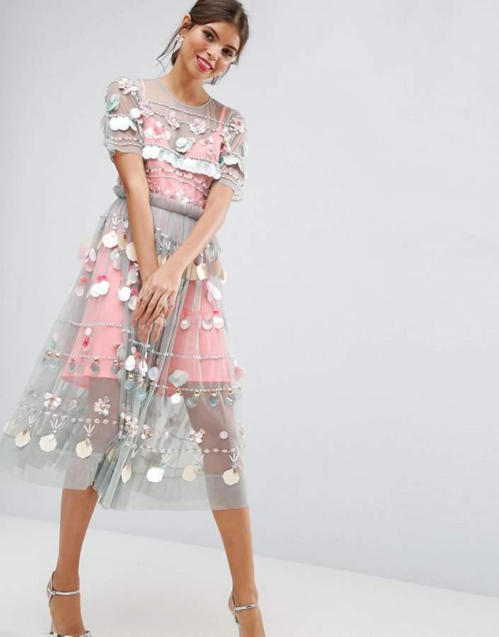 AsosASOS SALON Embellished Smock Midi Dress