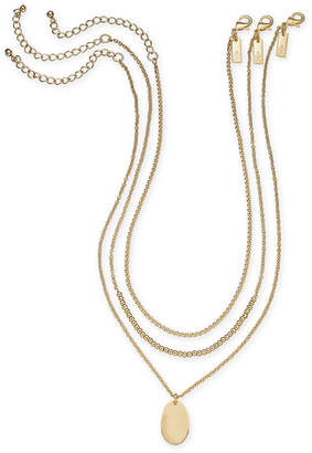"INC International Concepts I.n.c. Gold-Tone 3-Pc. Set Beaded & Oval Disc Necklaces, 18""/20""/21"""