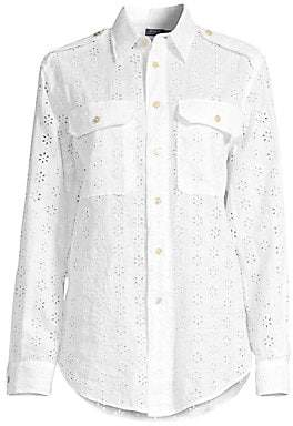 4b8a25bfc Polo Ralph Lauren Women's Eyelet Linen Button-Down Shirt
