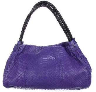 Carlos Falchi Fatto a Mano by Leather-Trimmed Python Hobo