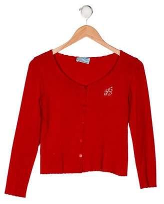 Miss Blumarine Girls' Embellished Knit Cardigan