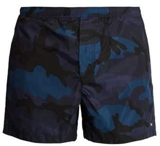 Valentino Camouflage Print Swim Shorts - Mens - Navy Multi