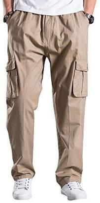 Mesinsefra Men's Full Elastic Waist Cargo Pants 2XL