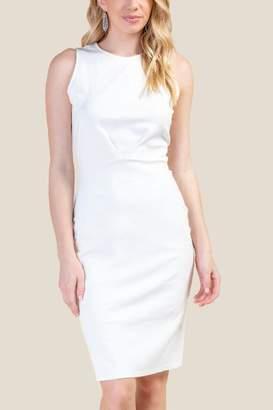 francesca's Kristie Pleated Front Sheath Dress - White