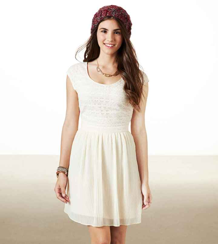 American Eagle AE Pleated Lace Party Dress
