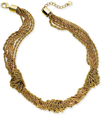 "Charter Club Gold-Tone Multi-Chain Knotted Collar Necklace, 17"" + 2"" extender"