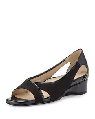 Taryn Rose Klouse Open-Toe Demi-Wedge Sandal, Black $219 thestylecure.com